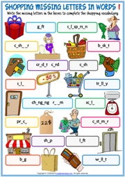 Shopping Vocabulary Missing Letters In Words Worksheets