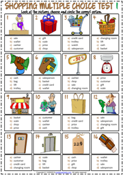 Shopping Vocabulary ESL Multiple Choice Tests For Kids
