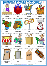 Shopping Vocabulary ESL Picture Dictionary Worksheets