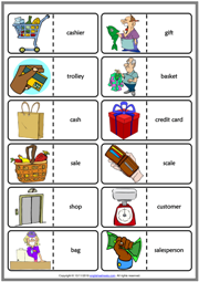 Shopping Vocabulary ESL Printable Dominoes Game