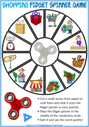 Shopping Vocabulary ESL Printable Fidget Spinner Game