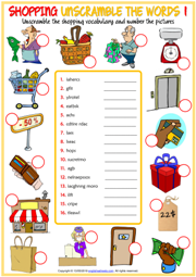 Shopping Vocabulary ESL Unscramble the Words Worksheets