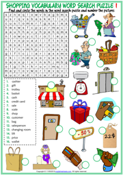 Shopping Vocabulary ESL Word Search Puzzle Worksheets