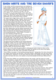 Snow White and the Seven Dwarfs ESL Reading Text Worksheet For Kids