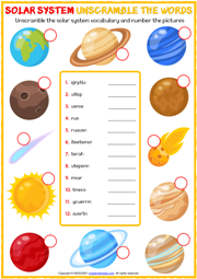 Solar System ESL Printable Unscramble the Words Worksheet