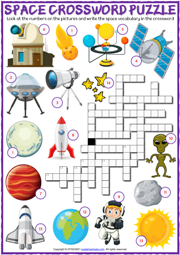 Space Vocabulary ESL Printable Crossword Puzzle Worksheet