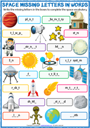 Space Vocabulary ESL Missing Letters In Words Exercise Worksheet