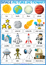 Space Vocabulary ESL Printable Picture Dictionary Worksheet