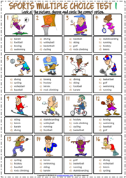 Sports ESL Printable Multiple Choice Tests For Kids