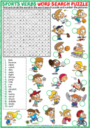 Sports Verbs ESL Printable Word Search Puzzle Worksheet