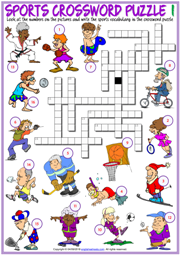Sports ESL Printable Crossword Puzzle Worksheets For Kids