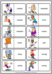 Sports ESL Printable Dominoes Game For Kids