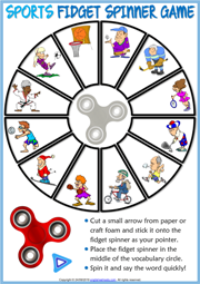 Sports ESL Printable Fidget Spinner Game For Kids