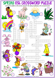 Spring ESL Printable Crossword Puzzle Worksheet For Kids
