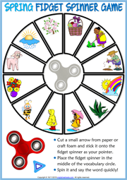 Spring ESL Printable Fidget Spinner Game For Kids