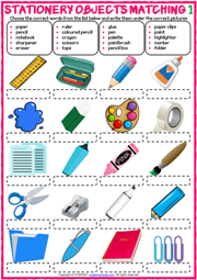 Stationery Objects ESL Matching Exercise Worksheets