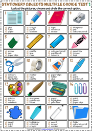 Stationery Objects ESL Printable Multiple Choice Tests