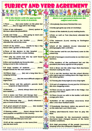 Worksheet Subject Verb Agreement Worksheets subject verb agreement esl printable worksheets and exercises grammar worksheet