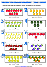math worksheet : grade 1 subtraction printable maths worksheets and exercises : Maths Grade 1 Worksheets
