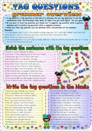 Tag Questions ESL Printable Worksheets and Exercises