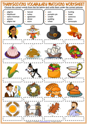 Thanksgiving ESL Vocabulary Matching Exercise Worksheet For Kids