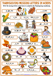 Thanksgiving ESL Missing Letters In Words Exercise Worksheet