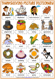 Thanksgiving ESL Printable Picture Dictionary Worksheet For Kids