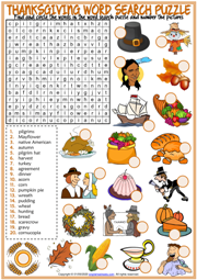 Thanksgiving ESL Printable Word Search Puzzle Worksheet For Kids