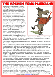 The Bremen Town Musicians ESL Reading Text Worksheet For Kids