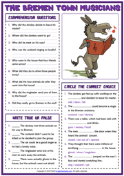 The Bremen Town Musicians ESL Reading Comprehension Questions Worksheet