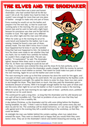 The Elves and the Shoemaker ESL Reading Text Worksheet For Kids