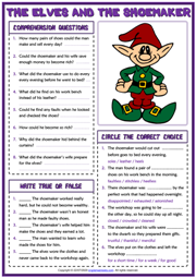 The Elves and the Shoemaker ESL Reading Comprehension Questions Worksheet