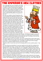The Emperor's New Clothes ESL Reading Text Worksheet For Kids