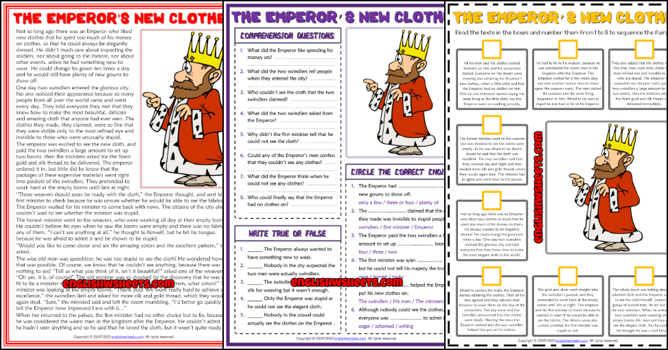 The Emperor S New Clothes Esl Reading Comprehension Worksheets