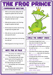 The Frog Prince ESL Reading Comprehension Questions Worksheet
