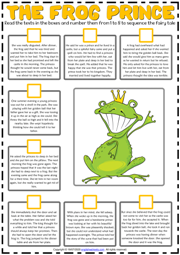 The Frog Prince ESL Sequencing the Story Worksheet