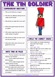 The Tin Soldier ESL Reading Comprehension Questions Worksheet