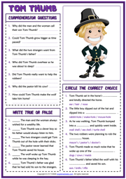 Tom Thumb ESL Reading Comprehension Questions Worksheet