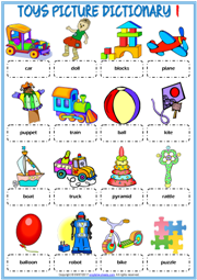 Toys ESL Printable Picture Dictionary Worksheets For Kids