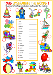 Toys ESL Printable Unscramble the Words Worksheets