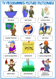 TV Programmes ESL Picture Dictionary Worksheet For Kids