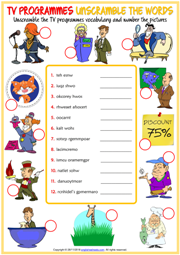 TV Programmes ESL Unscramble the Words Worksheet