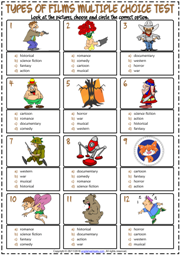 Types of Films ESL Printable Multiple Choice Test For Kids
