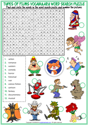 Types of Films ESL Word Search Puzzle Worksheet For Kids