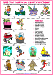 Holiday Types ESL Matching Exercise Worksheet For Kids