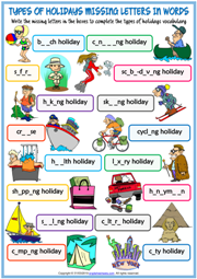 Holiday Types Missing Letters In Words Exercise Worksheet