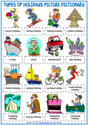 Holiday Types ESL Picture Dictionary Worksheet For Kids
