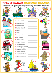 Holiday Types ESL Unscramble the Words Worksheet For Kids