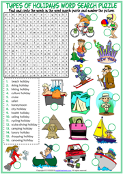 Holiday Types ESL Printable Word Search Puzzle Worksheet