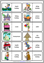 Holiday Types ESL Printable Dominoes Game For Kids